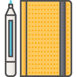 Simple artistic and hobby Vector Flat Icon. Classic marker with sketchbook for drawing. Flat style icon. 48x48 Pixel Perfect. Stock Photo