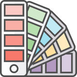 Simple artistic and hobby Vector Flat Icon. Color pallette for picking colors. Stock Photos