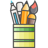 Simple artistic and hobby Vector Flat Icon. Pot with markers, pencils and brushes for drawing and painting. Stock Image