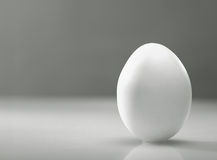 Simple as... White egg over desk with reflection and shadow Stock Photos