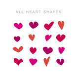 Simple assorted valentine hearts. basic love motif. For header, title, cards, invitation, icons, patterns Royalty Free Stock Images