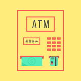 Simple atm template isolated on yellow background. Concept of withdrawal, bank settlements and pay regular bills. flat style trendy modern design vector Stock Photos