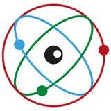 Simple atom symbol, molecule concept, structure of the nucleus, atom label, molecule on white background, atom logo, chemistry. Concept, vector artwork Vector Illustration