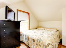 Simple attic bedroom interior. Horse ranch in Washington State Stock Images