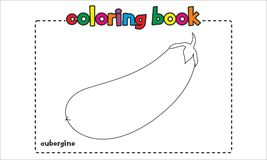 Simple aubergine coloring book for children and kids Royalty Free Stock Photos