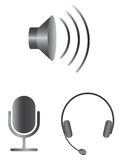 Simple audio icons Stock Photos