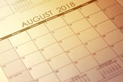 Simple August 2018 calendar. Week starts from Sunday. Toned image. stock image