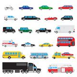 Simple auto icon set. The collection of simple and different kinds and types of cars Stock Photography