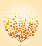 Simple autumn tree. Elegance simple autumn tree in yellow and orange shades Stock Photos