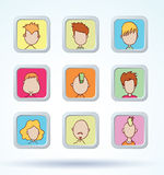 Simple avatar icons set, vector. Royalty Free Stock Images