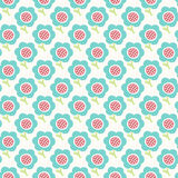 Simple baby pattern. Cute seamless wallpaper. Doodle little blue flower background. Stock Images