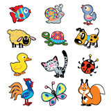 Simple babyish pictures. Set with cartoon animals,vector pictures isolated on white background,children illustration,simple images for babies and little kids vector illustration