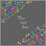 Simple Background of Gradient Colorful Circles on Grey Backdrop. Universal Abstract Template with Colored Circles in Corners for your Text, Information Vector Illustration