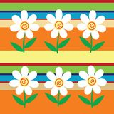 Simple background with stripes and flowers Royalty Free Stock Images