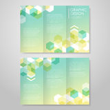Simple background for tri-fold with hexagons element royalty free illustration