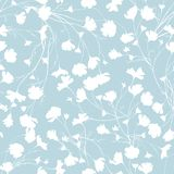 Simple background with white flowers on blue background. Drawn floral textures. Blue ornament to decorate fabrics, tiles and paper. On the wall stock illustration
