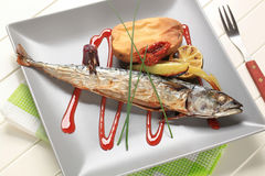 Simple baked mackerel recipe Royalty Free Stock Photo