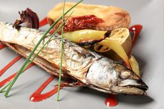 Simple baked mackerel recipe Stock Photography