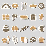 Simple bakery items color stickers set eps10 Royalty Free Stock Photos
