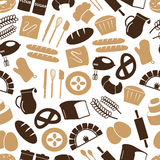 Simple bakery items icons seamless color pattern eps10 Royalty Free Stock Photo