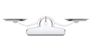 Simple Balance Scale. 3d Rendering. Simple Balance Scale on a white background. 3d Rendering Stock Image