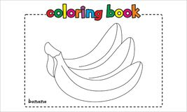 Simple banana coloring book for children and kids Stock Images