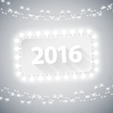 Simple Banner 2016 with Christmas Lights. For Your Celebratory Design stock illustration