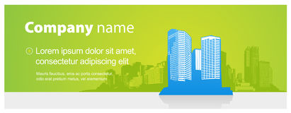 Simple banner with cityscape and place for your text. Stock Photography