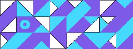 Simple Banner square modules. Simple banner of decorative patterns square modules colored geometric composition in Scandinavian style Stock Photo