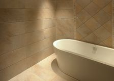 Simple bathroom. With retro warm ceramics wall and floor tile Royalty Free Stock Image