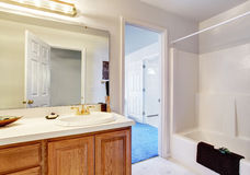 Simple bathroom with full bath shower. Royalty Free Stock Photography
