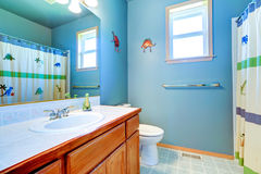 Simple bathroom interior in light blue Stock Photo