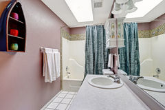 Simple bathroom intrerior in mauve color with skylight Stock Photography