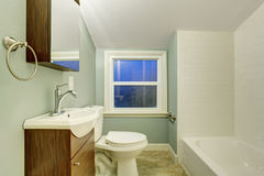 Simple bathroom with mint walls. Stock Image