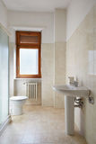 Simple bathroom in normal apartment Royalty Free Stock Images
