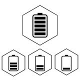Simple battery icon with charge level. Polygon level Stock Images