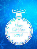 Simple Bauble Merry Christmas 2014 Blue Background. Digital art stock illustration