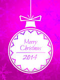 Simple Bauble Merry Christmas 2014 Purple Background. Digital art Stock Images