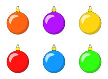 Simple Bauble set for christmas tree isolated on white. Background Royalty Free Stock Photography