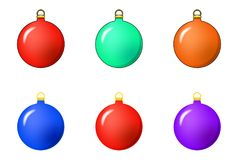 Simple Bauble set for christmas tree isolated on white backgroun. D Stock Images