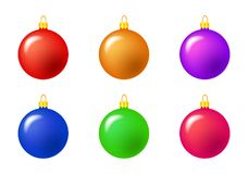 Simple Bauble set for christmas tree isolated on white. Simple Bauble set for christmas tree isolated on white background Stock Photo