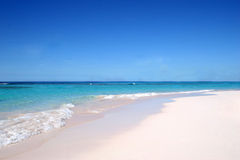 Simple beach. Sandy beach in Barbados island, Caribbean Sea royalty free stock photo