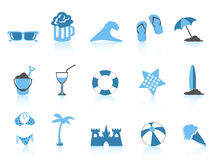 Simple beach icon blue series Stock Photography