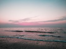 Simple beach sunset stock images