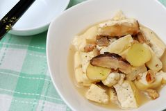 Simple bean curd delicacy. Simple Asian style bean curd delicacy topped with mushroom gravy Royalty Free Stock Photos