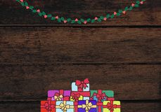 Beautiful decorated Christmas background with Christmas gifts
