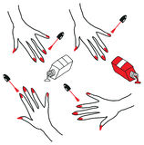 Simple Beautiful manicure process icons. Nail polish being applied to hand. on white background Stock Photography