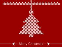 Cross-stitching instruction with tree for christmas Stock Image
