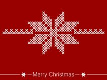 Cross-stitching instruction with flower for christmas Royalty Free Stock Images