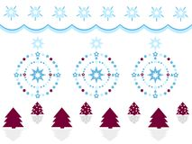 Merry Christmas decoration with trees, stars and wreaths. Simple, beautiful shapes with festive ornaments. Clean design for Christmas prints Stock Image
